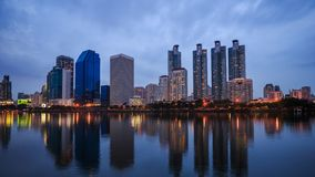 Time-lapse of Bangkok city view at Benjakitti Park, Bangkok, Thailand.