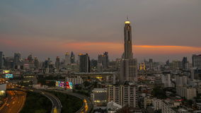 Time lapse of Bangkok high-rise buildings at dusk stock footage