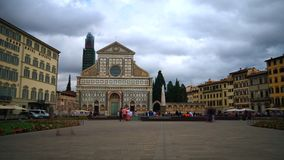 Time lapse of Basilica Santa Maria Novella, Florence. Florence, October 2017: Time lapse of people walking in the Santa Maria Novella square in front of the stock video