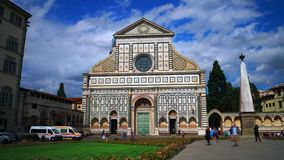 Time lapse of Basilica Santa Maria Novella, Florence. Florence, October 2017: Time lapse of people walking in the Santa Maria Novella square in front of the stock video footage