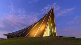 Time lapse of Beautiful hall leaf shape in sunset time. / Prince Mahidol Hall building in sunset stock video