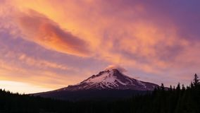 Time Lapse of Mt Hood at Sunset stock video footage