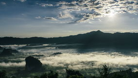 Time Lapse Beautiful Sunrise. Mist and Cloudscape Over The Mountain. stock footage