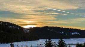 Time lapse of a beautiful sunset in the mountains stock video footage
