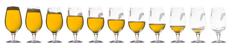 Time lapse - Beer. Isolated on a white background Royalty Free Stock Photos