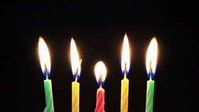 Time lapse of birthday candles burning 4K stock footage