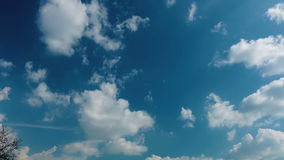 Time lapse of blue dramatic sky and clouds stock footage