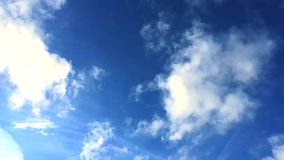 Time-lapse of blue sky with white rolling clouds from right to left side of the frame. Fast moving clouds with plane in the blue s. Time-lapse of blue sky with stock footage