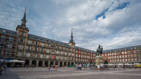 Time Lapse with blurred tourists in Plaza Mayor, Madrid , Spain. Wide angle time-lapse of Plaza Mayor in Madrid , Spain. 4k Time Lapse with blurred people stock video footage
