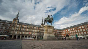 Time Lapse with blurred tourists in Plaza Mayor, Madrid , Spain stock footage