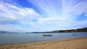 Time lapse  with boats on the beach in Koh Samui Royalty Free Stock Images