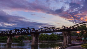 Time-lapse of Bridge River Kwai in Kanchanaburi, Thailand stock video