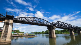 Time-lapse of the Bridge River Kwai with train in Kanchanaburi, Thailand stock video