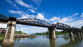 Time-lapse of the Bridge River Kwai with train in Kanchanaburi, Thailand stock video footage