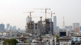 Time lapse of Building Under Construction. Crane used for the construction of a skyscraper stock footage