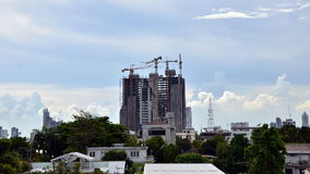 Time lapse of Building Under Construction. With cloudy sky stock video footage