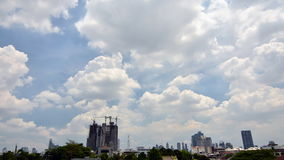 Time lapse of Building Under Construction. With cloudy sky in Bangkok, Thailand stock video