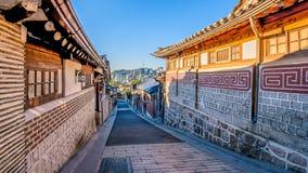 Time lapse of Bukchon Hanok Village in Seoul, South Korea.Zoom in stock video