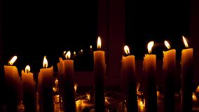 Time Lapse of burning down nine candles for Hanukkah, the Jewish holiday. stock video footage