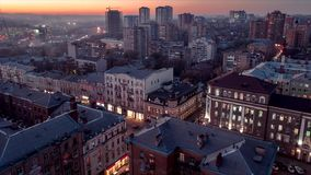 Time lapse. The burning lights of the city of Rostov on Don at sunset.mp4