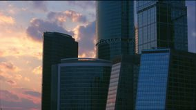 Time lapse business district at sunset stock video footage