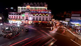 Time Lapse Busy Downtown Traffic at Night -  Hoan Kiem Lake / Hanoi Vietnam. Busy Downtown Hanoi Vietnam at Night.  Also Available in 4K stock footage