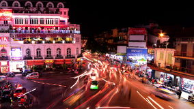 Time Lapse Busy Downtown Traffic at Night -  Hoan Kiem Lake / Hanoi Vietnam. Busy Downtown Hanoi Vietnam at Night.  Also Available in 4K stock video