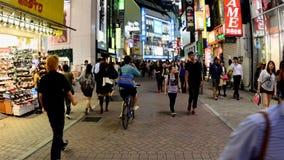 Time Lapse - Busy Shinjuku Entertainment / Shopping District at Night - Tokyo Japan stock video