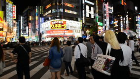 Time Lapse - Busy Shinjuku Entertainment / Shopping District at Night - Tokyo Japan stock video footage