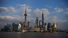Time lapse,busy ship sails through downtown Shanghai,Lujiazui economic building. Time lapse,busy ship sails through downtown Shanghai,Lujiazui economic Center stock footage