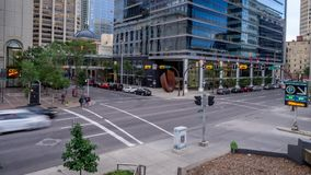 Time lapse of busy street in Calgary stock video footage