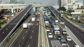 Time Lapse of Busy Truck Traffic on Japanese Highway - Tokyo Japan stock video footage