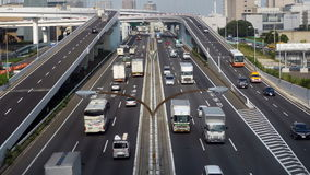 Time Lapse of Busy Truck Traffic on Japanese Highway - Tokyo Japan stock footage
