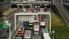 Time Lapse of Busy Truck Traffic on Japanese Highway - Tokyo Japan stock video