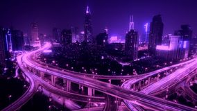 Time lapse busy urban traffic with streaking lights trail at night,shanghai. Timelapse of freeway busy city rush hour heavy traffic jam highway Shanghai at stock footage