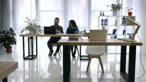 Time lapse of busy working day in creative office stock footage