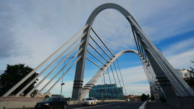 Time-lapse of the cable-stayed bridge across the river stock video footage