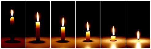 Time Lapse candle burning Royalty Free Stock Images