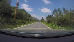 Car time lapse in Greek countryside. A time lapse of a car road trip from Finikounta to Pylos - Greece stock video footage