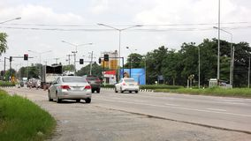 Time Lapse car and traffic on city road of chiangmai.
