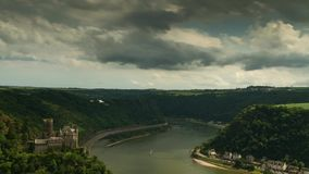 Time lapse of Castle Katz above the rhine valley stock footage