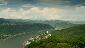Time lapse of Castle Liebenstein and Castle Sterrenberg above the rhine valley stock video footage