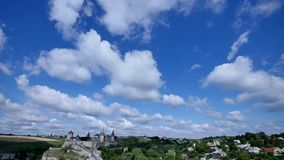 Time lapse castle in village. wide angle. stock footage
