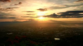 Time lapse of Chaing Mai city morning. Time lapse of Chiang mai province of northern Thailand in viewpoint sunset with beautyful cloudy sun shine stock footage