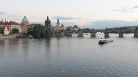 Time lapse of the Charles Bridge and TOWERS of the Prague Old Town. stock video footage
