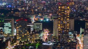 Time lapse of city and road in Tokyo at night, Japan stock footage