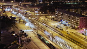 Time Lapse Of City Road Traffic at Night, Cars Moving On The Crossroad, Russia stock video