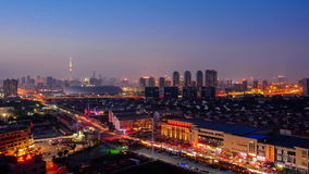 Time lapse Cityscape of Tianjin city China at twilight dusk night stock video