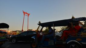 Time-lapse clip of Bangkok Traffic around the Giant Swing in Bangkok. stock video footage