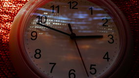 Time Lapse Clock, 6 Hours(From 12 To 6), With Lights And Shadows Zoom Out stock footage